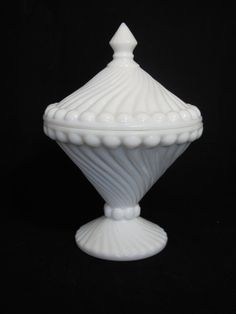 Vintage Swirled Milk Glass Candy Dish $18.00