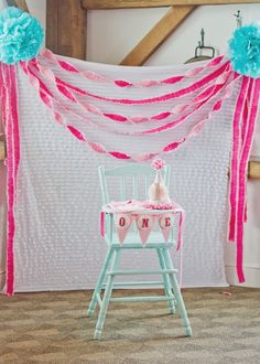 Bridgets Pink Ombre Party #birthday #highchair #sweetbloomphotography