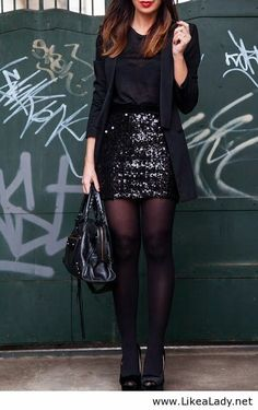 Black sequin mini skirt, black blazer, black tights and pumps