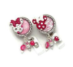 Stars w//ur name personalized bling pearls Retractable Reel ID Badge Holder nurse