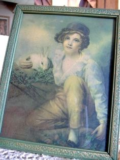 Rabbit Boy Print Victorian Vintage by Quilted Nest