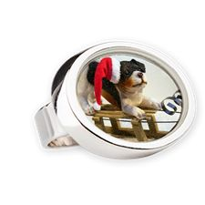 Puppy on a Sled Oval Ring