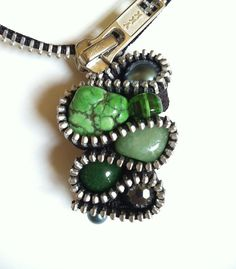 Green with Envy Zipper Necklace by ArtologieDesigns on Etsy