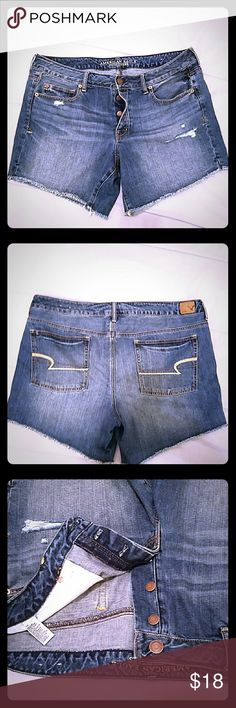 American Eagle Jean Shorts Size 18 100% cotton, no stretch, button fly soft distressed jean shorts, low rise, they don't make jean shorts like these anymore, nice material. They are a size too big for me, I wanted a slouchy look but, didn't realize they were an 18 instead of a size 16 lol my loss is your gain!! American Eagle Outfitters Shorts