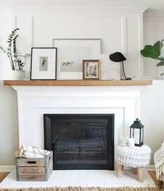 my hybrid inspiration - The bottom looks like two 1x's layered with some sort of trim to transition them. - Show more brick - Find a way to connect the top to the bottom using different trim? #mantleDecorating
