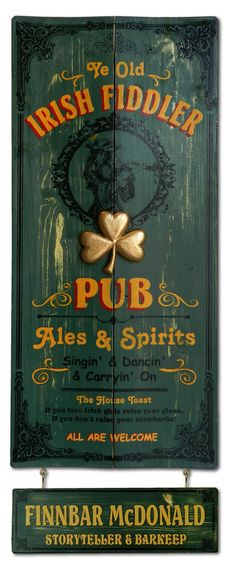 Personalized Irish Fiddler Pub Pop Art vintage wooden plank sign with 3D sculpted relief of a Shamrock. Handcrafted of furniture grade wood