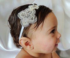 Flower Girl Beaded Headband, Baby Headband, Baptism Headband, Christening Headband on Etsy, $50.00