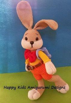 Conejito va a la escuela-Amigurumi Crochet patrón