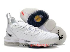 edeef6f530d00 Nouveau Off White x Nike LeBron 16 Chaussures De BasketBall Pas Cher Prix Homme  Blanc noir
