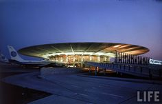 "Old Pan Am Worldport terminal at JFK airport.  Built in 1960.  Love the ""mod"" flying saucer roof."