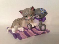 ALWAYS BY YOUR SIDE Kitten Figurine PRETTY IN PURPLE CAT BEAR Hamilton Coll. | eBay