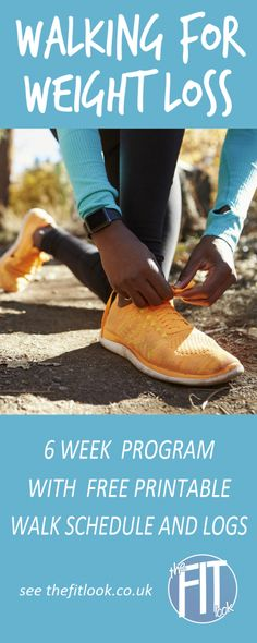 Lose weight walking - a 6 week interval walk program with free printable progress logs. Guide to planning a route also included. #walking #weightloss
