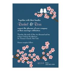 Cherry Blossom Garden (Pink Navy) Wedding Custom Announcements