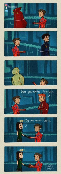 Peter finally gets that handshake. :') || Avengers Infinity War || Spiderman, Mantis, Drax, Dr. Strange, Starlord || Cr: mysiepereira