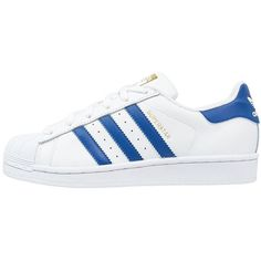 adidas Originals SUPERSTAR FOUNDATION Trainers/collegiate royal (620 CNY) ❤ liked on Polyvore featuring shoes, sneakers, adidas, clothes - shoes, white, synthetic leather shoes, white shoes, leather shoes, cap toe sneakers and adidas originals trainers
