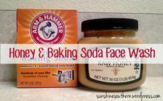 Honey & Baking Soda Face Wash I know what you're thinking: wash your face with honey? Sounds messy, right? Sounds...sticky. Surprisingly it isn't. And honey is one of the best things you can pu...