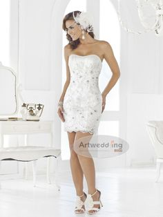 Short Beaded Wedding Dress | Beaded and Ruched Sweetheart Short Lace over Satin Sheath Wedding ...