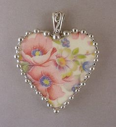 Broken china heart pendant by Dishfunctional Designs pink poppies