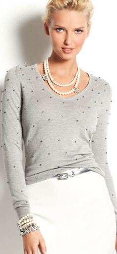 Spring or Fall - business casual - work outfit - casual look - white pencil skirt + gray sweater + metallic belt & stilettos + pearls