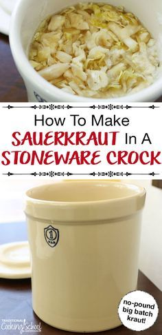 How To Make Sauerkraut In A Stoneware Crock {free video & print recipe! Making Sauerkraut, Homemade Sauerkraut, Sausage Sauerkraut, Sauerkraut Recipes, Cabbage Recipes, Fermented Cabbage, Fermented Foods, Fermentation Recipes, Canning Recipes