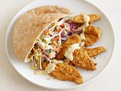 Falafel-Crusted Chicken With Hummus Slaw from #FNMag #myplate #protein #veggies #grains