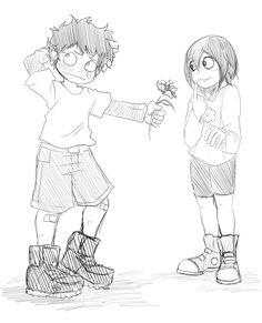 "kickbase77: ""Izuku and Tsuyu young! Izuku giving a flower to Tsuyu! :3 Request for - pc-the-unicorn """