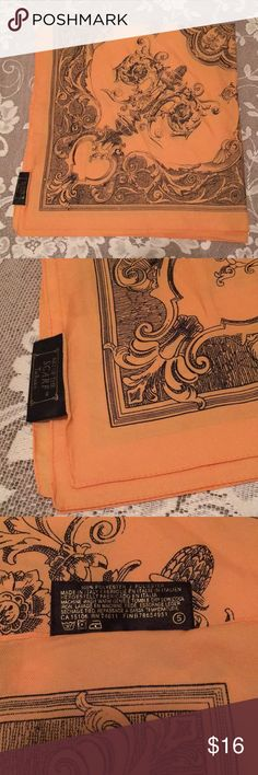 "Vintage Orange and Black Square Scarf 30""x30"" Square 100% polyester scarf, in an orange and black print / pattern. Made in Italy. Machine washable and tumble dry low! Does have a few stains- these are pictured in the last couple photos, and may come out in the wash (I haven't tried). Art of the Scarf , Tie Rack Art of the Scarf Accessories Scarves & Wraps"