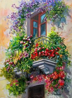 Balcony With Flowers - Italy Painting by Gioia Mannucci Watercolor Landscape Paintings, Watercolor Paintings, Watercolour On Canvas, Italy Painting, Italy Art, Mini Canvas Art, Acrylic Painting Canvas, Beautiful Paintings, Decoupage