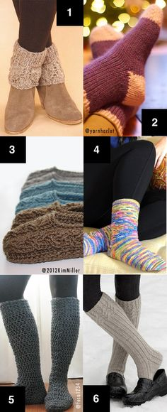Crochet and knit projects for cold feet.