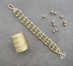 Gold Swarovski Pearl Macrame Bracelet by BlueLotusTreasures.: