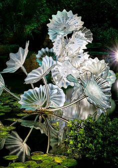 Glass sculptures by Dale Chihuly at the Dallas Arboretum