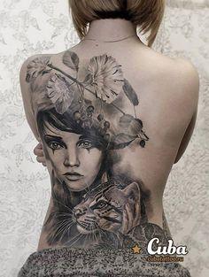 Portrait back tattoo - 70 Awesome Back Tattoo Ideas <3 <3