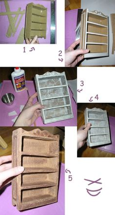 Miniature Shelf Tutorial by kayanah on deviantART Dollhouse Furniture Miniature Crafts, Miniature Dolls, Barbie Doll House, Barbie Dolls, Mini Doll House, Barbie Stuff, Ag Dolls, Doll Stuff, Barbie Clothes