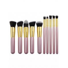 Choies Pink 9 Pack Cosmetic Brush Collection (€18) ❤ liked on Polyvore featuring beauty products, makeup, makeup tools, makeup brushes and silver