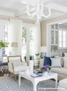 beige walls white and blue interior