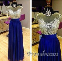 Sparkly long sequins prom dress, ball gow elegant navy blue chiffon prom dress for teens #coniefox #2016prom