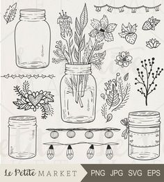 45% Off Spring Sale: use code: SUNSHINE 16 piece Hand Drawn Mason Jar Celebration Set; Perfect for scrapbooking, card making, branding, logo design, stationery and invitations, classroom worksheets, teachers, weddings, printable projects, party printables, sticker sheets, planners, digital stamping and more! Youll get: 4 hand drawn mason jar illustrations Strawberry, heart, leaf and flower clip art Repeatable string light clipart page borders and decor Repeatable heart and flower garla...