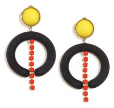 Chic earrings from our spring 2014 collection! Made from  vintage black plastic circular with inlay chain with touches of red stone, and head from an italian vintage yellow button-like fabric.