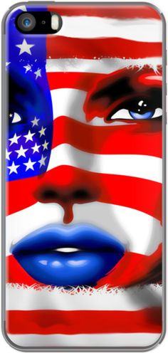 #USA #Stars and #Stripes #Woman #Portrait By #BluedarkArt for Apple #iPhone 5/5s