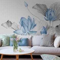 Abstract Ink Blue Lotus Floral Wallpaper Wall Mural, Lotus Flowers Wall Mural for Bedroom Living Room, High Qaulity Lotus Wall Decor Wall Murals Bedroom, Mural Wall Art, Vinyl Wall Stickers, Wall Decals, Wall Painting Decor, Contemporary Wallpaper, Wall Wallpaper, Bedroom Wallpaper, Home And Deco