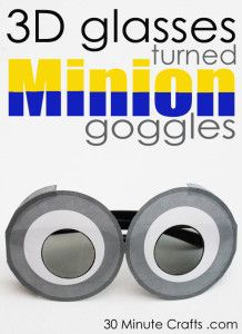 Free Printable to make Minion Goggles out of 3D glasses