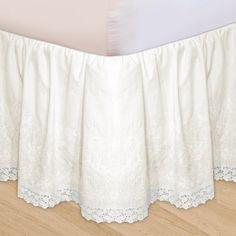 Embroidered 3-Piece Adjustable Bed Skirt, Beige