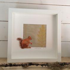 Little Squirrel. Hand embroidered on hand printed background. www.violetshirran.com