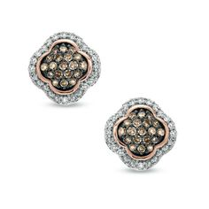 1/2+CT.+T.W.+Champagne+and+White+Diamond+Clover+Stud+Earrings+in+10K+Rose+Gold