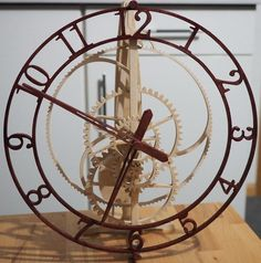 """Wooden clock """"Magica"""" from Alexander Vogel. Designed by Christopher Blasius. Plans available at holzmechanik.de"""