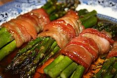 Fresh asparagus spears, wrapped in bacon & cooked in a spicy brown sugar butter sauce