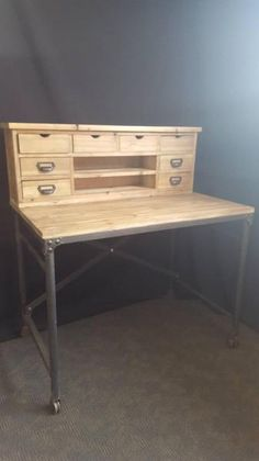 NEW PROVINCIAL INDUSTRIAL RUSTIC DESK with PIGEON HOLES Shelves  Table top and Pigeon hole Shelf made from pine Legs made from rustic iron with caster ..., 1103962898