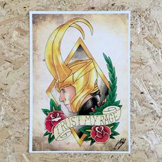 Loki Marvel Tattoo Inspired Art Print by UK Artist Tom Hall, available at Stag & Raven, who have the UK's largest collection of Tattoo Art!