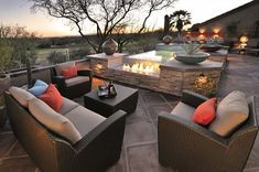outdoor furniture with fireplace and small hot tub - Sonoran Desert