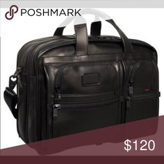 Tumi alpha bag Expandable briefcase carry on. Black leather. Tumi Bags Laptop Bags